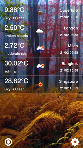 Phone showing weather in several cities