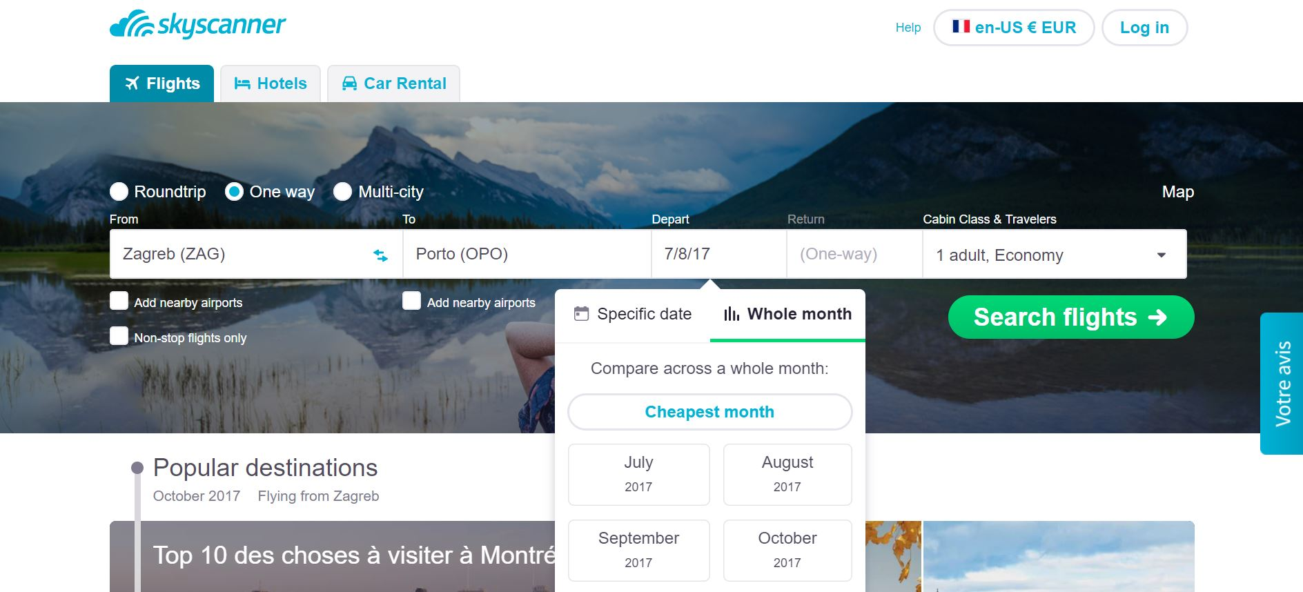 skyscanner cheapest month whole month