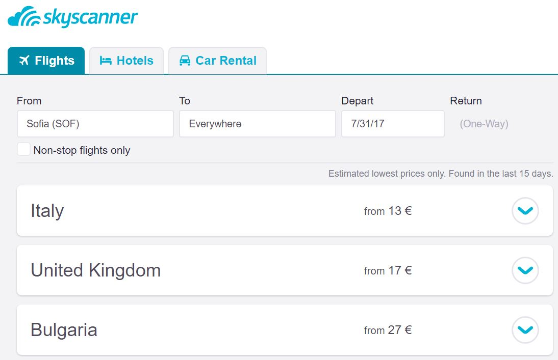 Skyscanner everywhere search by country