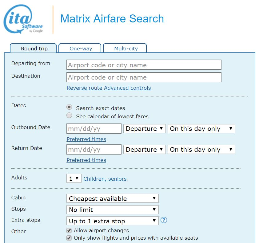 ita matrix airfare