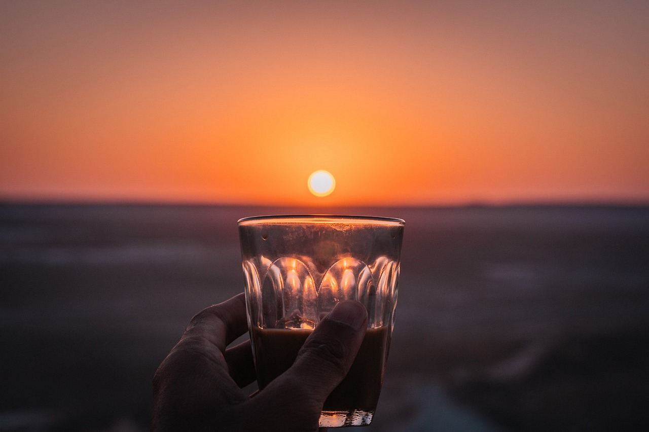 Drink facing the sunset