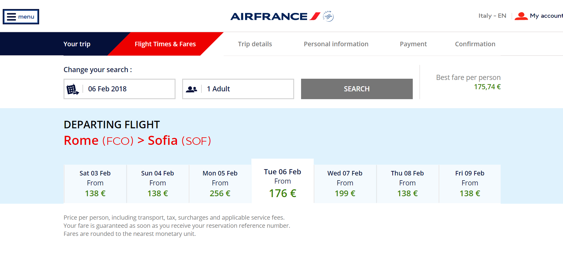 Rome-Sofia on Airfrance.it